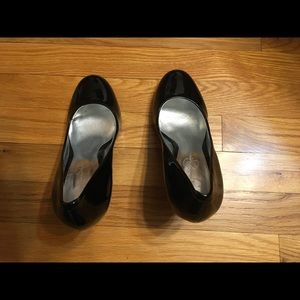 "Jessica Simpson black leather pumps/shoes. 4"" heel"